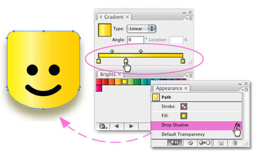 Illustrator CS3 Gradients Swatch Panel, Filters, Lego Man